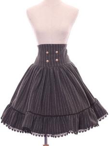 Lolita Saia para informal doce de tecido de lã para uniforme com desenho de listrado parte de baixo marrom escura