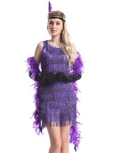 Vestido 2020 de 1920's Flapper para Mulheres Halloween Costume Gatsby Vintage Roxo Fringe