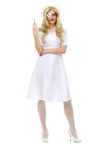 Carnaval Disfraz blanco con gorra&con vestido&con parche Halloween