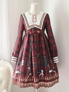Vestido Lolita de Mangas para informal com mangas compridas de poliéster doce estampado Vermelho escuro