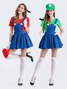Costume Carnevale Costume Cosplay Halloween 2020 in due pezzi con cappello baffi Super Mario Bros Mario