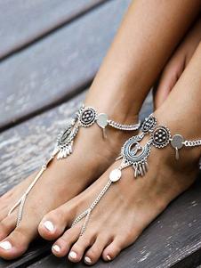 Tornozeleira moda Pinça de Lagosta em estilo boémio prata para praia Tornozeleira de metal