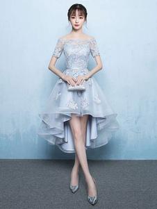 فستان سهرة أنيق، موديل حورية، برقبة حرف (في)، ممتد إلى الأرض فستان سهرة أنيق، على شكل حرف (أيه)