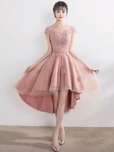Румяна Розовый Homecoming платья Высокий низкий кружева Applique Illusion короткие платья выпускного вечера 2020