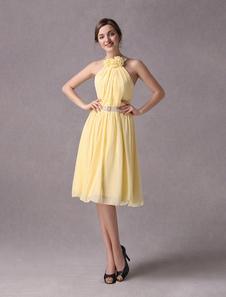 2a7f4431 Vestido para la madre de la novia de satén y de gasa de color narciso de