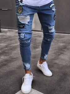 Jeans strappati 2020 jeans Biker jeans Jean Blue Jeans strappati con applicazioni strappate