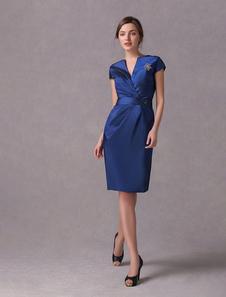 Vestido para la madre de la novia de tafetán de color azul de línea A con escote en V y mangas cortas Vestidos de boda para huéspedes