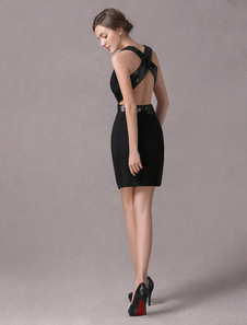 Сексуальный черный спиннинг милая мини коктейльное платье