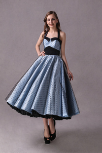 Vestidos de dama de honor de Rockabilly corto vestido de fiesta de boda del topetón de la impresión del punto del té de la longitud del té del halter azul marino