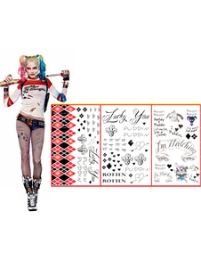 Suicide Squad Harley Quinn Halloween Cosplay Temporary Tattoo Halloween