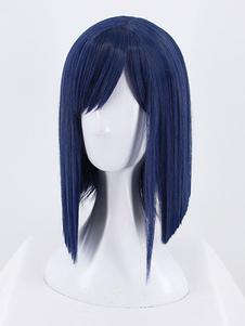 Peruca peruca Cosplay Fibra de Resistente ao Calor Tinta Azul