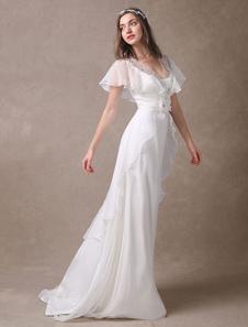 Гламурные цвета слоновой кости для новобрачных свадебное платье с бисером v-образным вырезом Milanoo
