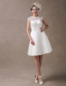Joelho-comprimento vestido de noiva marfim de recepção com a linha renda pura Milanoo