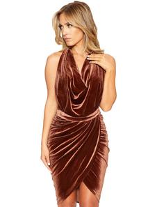 Marrone V collo senza maniche senza schiena fessura Velvet Club donne vestito drappeggiato che modella Club Wear