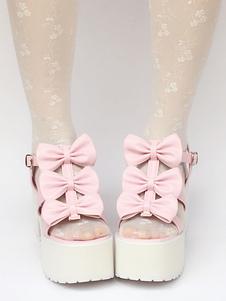 Sandalias de lolita rosa con lazo