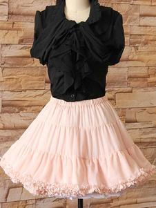 Rosa Lolita falda de encaje en niveles poliester enagua