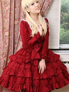 Classic Lolita Vestido rojo Lolita Vestido OP algodón manga larga volante en niveles vestido de una sola pieza de Lolita