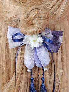 Lolita Acconciatura blu scura con fiocchi Stile cinese in chiffon fibra di poliestere