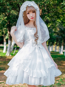 Лолита платье белого ОП короткие шифон Лолита один кусок платье