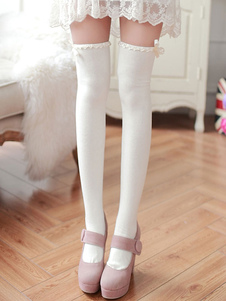 Classic Lolita Stockings White Bows Ribbons Printed Lolita Knee High Socks