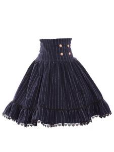 Sweet Lolita Dress SK Navy Lolita Dress alta Wasit Stripe Gonna Lolita