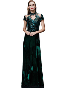 Вечерние платья вечернее платье Illusion Sequin матери платье темно-зеленый подставка воротник с коротким рукавом линии длиной до пола, свадебные платья для гостей