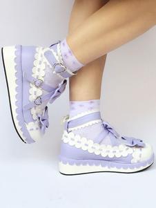 Zapatos de lolita de PU de puntera redonda con lazo morados
