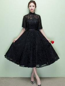 Abito da Sposa Nero Abito da Cocktail nero pizzo collo alto breve Prom Abito illusione che mezza manica un linea Party Dress