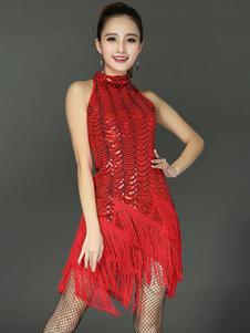 الرقص اللاتينية زي المرأة اللباس الأحمر مطرزة مع قفازات