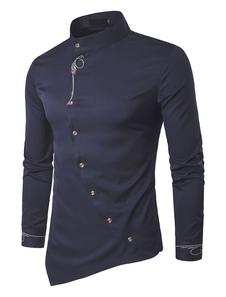 Camicia casual da uomo 2020  Camicia colletto tinta unita blu scuro a maniche lunghe