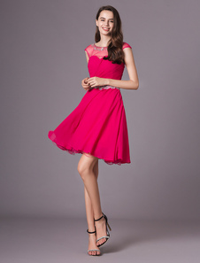 Curto vestido querida Ruched baile do Chiffon vestido para o baile quente rosa uma linha frisada joia pescoço vestido de festa