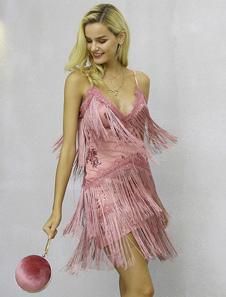 1920-е годы Мода Flapper Dress Женщины Короткое платье Strappy мини-платье без спинки без спинки с кисточками