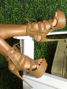 Коричневый гладиатор сандалии с открытым носком Stiletto пятки летние сандалии женщин высокой пятки сандалии обувь