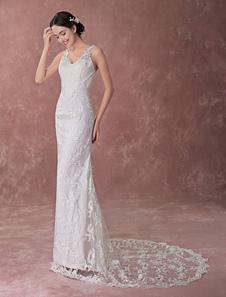 Ремень спагетти v-образным вырезом суд поезд пуговицы слоновой кости свадебное платье кружево