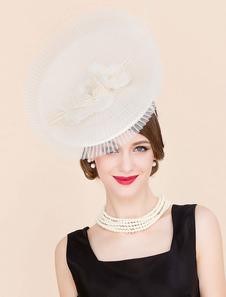 ريترو fascinator قبعة هالوين زي إكسسوارات أبيض خمر المرأة الكتان أغطية الرأس الملكي