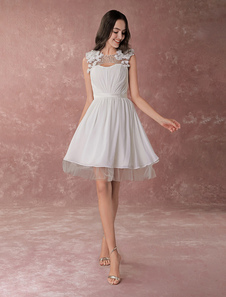 Слоновой кости онлайн драгоценность шеи цветок Бисероплетение шифон свадебное платье  Milanoo