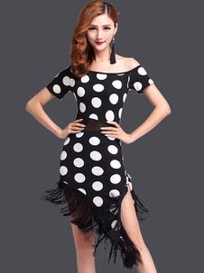 Dois tons vestido franja Polka Dot leite seda vestido de dança