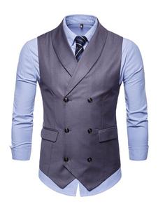 Homens Cintura Casaco Xaile Lapela Double Breasted Tuxedo Plus Size 1950 Cinza Terno Colete