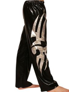 Черный Серебряный блестящий металлический брюки Хэллоуин