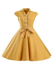 Gola v manga curta vestidos Vintage amarelo feminino curva vestidos Casual Flare