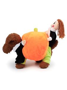 Traje de perro calabaza llevando ropa de gato naranja Trajes de mascotas de Halloween