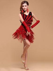 الرقص اللاتينية زي المرأة الأحمر مطرزة تنورة زي قاعة