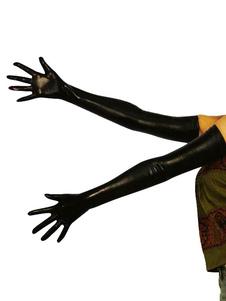 قفازات طول الكتف الأسود لامع أسود هالوين