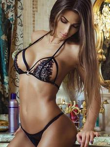 Biancheria intima sexy delle donne di colore solido del merletto del pizzo nero e delle mutandine messe