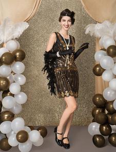 Costume Carnevale Vestiti Anni 20 per donne in tessuto con lustrini Vestito Flapper Nero  Costumi Retro halloween mini/corte Costume Taglia Forte