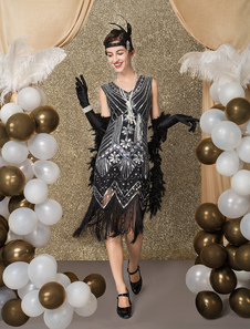 Vestido de Great Gatsby Flapper Costume das mulheres vintage de 1920 com borlas lantejoulas com lantejoulas Vestido de Halloween