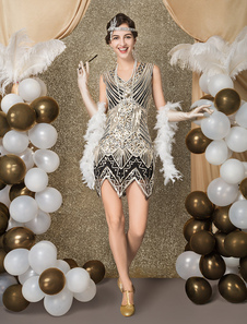 Хлопок платье костюм 1920-х годов мода винтажный костюм великий гэтсби женщин блестками зигзаг вырезать короткое платье хэллоуин