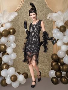 غاتسبي العظيم الزعنفة اللباس 1920 ثانية الأزياء خمر زي المرأة الأسود مطرزة الشرابة الزعنفة فتاة زي هالوين