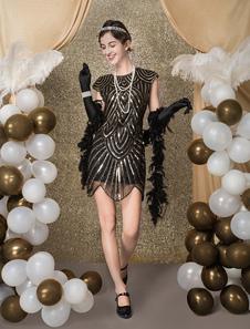 الزعنفة اللباس حلي 1920 ثانية الأزياء خمر زي المرأة الأسود مطرزة متعرج قص bodycon فستان قصير هالوين