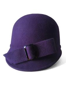 Chapéus de cloche vintage Chapéu de inverno de lã de arcos amarelos para mulheres